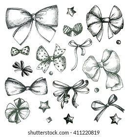 Vector hand drawn collection of lush bows and confetti. Vintage decoration for traditional holidays and gift boxes. Concept illustration.