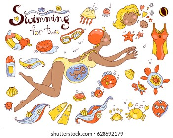Vector hand drawn collection. Mom and baby. Swimming for pregnant mulatto women. Cute cartoon style. Color illustration.