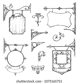 Vector hand drawn collection of vintage signboards, bracket and decorations. Sketchy engraving style of illustration. Isolated old town set.