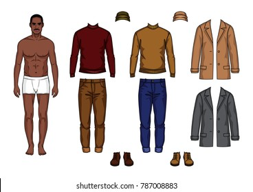 Vector hand drawn color illustration of an African american guy in the underwear is standing in front. Paper doll of dark skin man with clothes  isolated from background