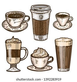 Vector hand drawn color set of coffee.Latte, cappuccino, frappe, espresso americano and americano in cup for take away in the engraving style isolated on white background.