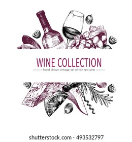 Vector hand drawn color template illustration of wine and appetizers. Bottle, glass, corksrew, cheese, fruits ans spices. Vintage engraved style art. For restaurant, menu, shop, market, sale.