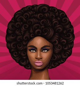 Vector hand drawn colored portrait of a young African girl with magnificent curly afro hairstyle in retro style. Pop Art background with sun's rays