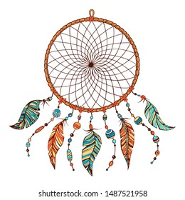 Vector hand drawn colorful illustration of indian tribal dream catcher. Native american boho background