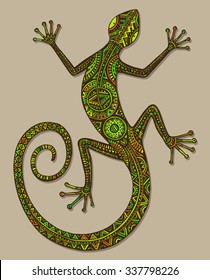 Vector hand drawn colorful lizard or salamander with ethnic tribal patterns. Beauty reptile decoration with beautiful ornament