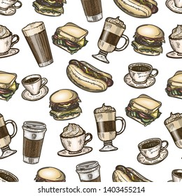 Vector hand drawn colorful seamless pattern of latte, cappuccino, burger, hamburger, hotdog, frappe, espresso americano and americano in cup for take away isolated on white background.