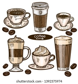 Vector hand drawn colorful set of coffee.Latte, cappuccino, frappe, espresso americano, coffee beans and americano in cup for take away in the engraving vintage style on white background.