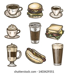Vector hand drawn colorful set of latte, cappuccino, burger, hamburger, hotdog, frappe, espresso americano and americano in cup for take away isolated on white background.