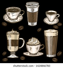 Vector hand drawn colorful set of coffee.Latte, cappuccino, frappe, espresso americano, coffee beans and americano in cup for take away in the engraving vintage style on black background.
