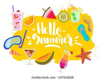 "Vector hand drawn colorful  summer emblem, sticker with lettering ""Hello summer"" and fruits, beach, diving, cocktails."