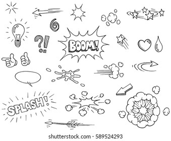 Vector hand drawn comic elements doodles