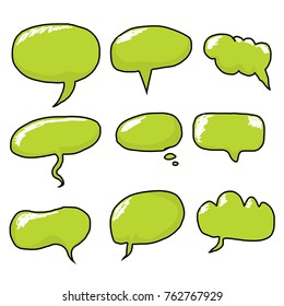 vector hand drawn comic green speech bubbles set. funny doodle design elements collection