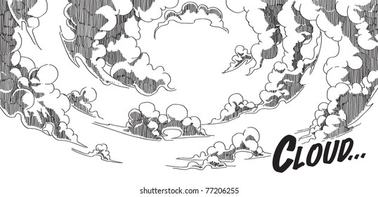 Vector Hand Drawn Comical Background - Cloud