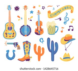 Vector hand drawn concept for postcards or festival banners for country music festival. Wild West illustration of a set with guitar, cacti, gun, horseshoe, hat and boot