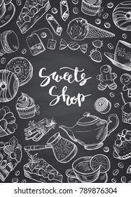 Vector hand drawn contoured sweets on chalkboard poster illustration with place for text. Sweet cake dessert and baking, banner chalkboard with sweet food