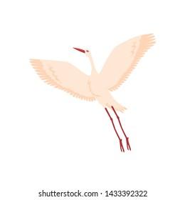 Vector hand drawn crane bird icon. Sketch flying white animals taking off. Elegant stork, symbols of china and asia. Isolated illustration