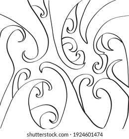 Vector hand drawn cropped square pattern with wavy lines,swirls ornament, dynamic graphic abstraction. Typography and digital use eps 10.