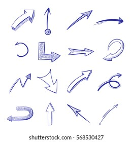 Vector hand drawn curved arrows. Drawing curve arrow, illustration of arrow painted pen.
