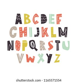 Vector hand drawn cut out color font, letters set. ABC, alphabet. Clipart, isolated vector letters and decor elements
