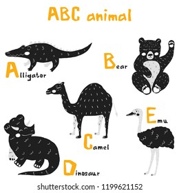 Vector hand drawn cute abc alphabet animal scandinavian design, alligator, bear, camel, dinosaur, emu