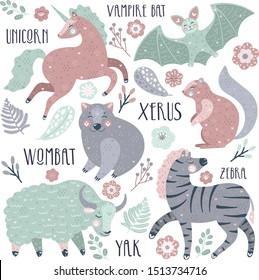 Vector hand drawn cute abc alphabet animal scandinavian design, zebra, vampire bat, unicorn,wombat, xerus, yak. Alphabet for kids education and room decoration