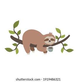 Vector hand drawn cute cartoon sloth hanging on a tree branch and smelling the morning coffee