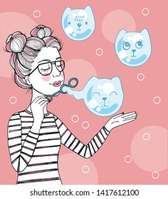 Vector hand drawn cute illustration of beautiful girl blowing air soap bubbles in the shape of cats, cute card with kawaii cats drawn in anime style, lovely card with flying kittens