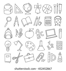 Vector hand drawn cute school supplies icons, pictograms. Backpack, ruler, pen, pencil, bulb, laptop, apple, magnifier, compass and more.