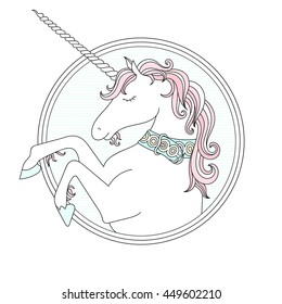 Vector hand drawn cute Unicorn