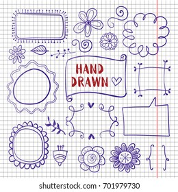vector hand drawn decorative elements on copybook page. Hand drawn doodle symbols collection