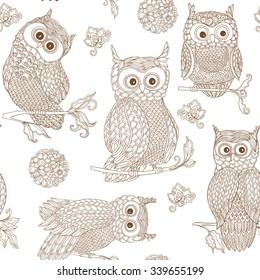 Vector hand drawn decorative owl seamless pattern.