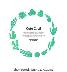 Vector hand drawn desert cacti plants in circle shape with place for text isolated on white background illustration