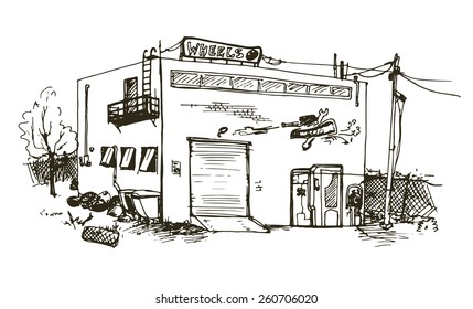 Vector hand drawn detailed illustration of repair garage, automobile workshop house
