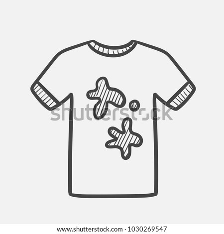 aa2c85138 Vector hand drawn Dirty t-shirt outline doodle icon. Dirty t-shirt sketch