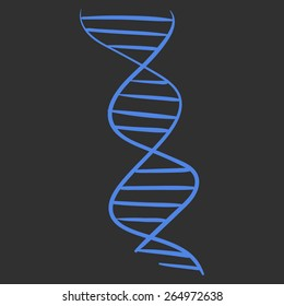 Vector hand drawn DNA spiral acid symbol sketch on a black background