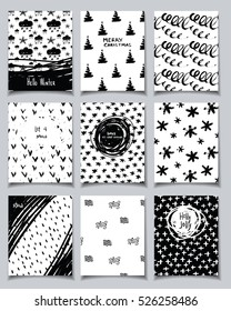 Vector hand drawn doodle card set. Winter holidays theme. Collection of cute black and white template with quotes for New Year, Christmas, holiday, business, birthday, party invitations.