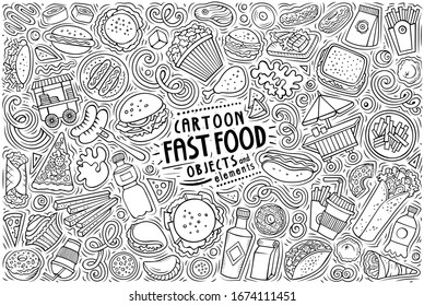 Vector hand drawn doodle cartoon set of Fast Food theme items, objects and symbols