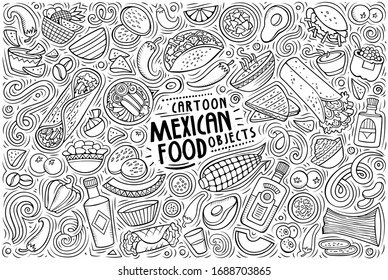 Vector hand drawn doodle cartoon set of Mexican food theme items, objects and symbols
