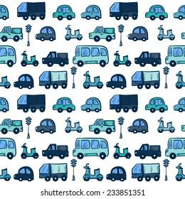 Vector hand drawn doodle cartoon cars seamless pattern