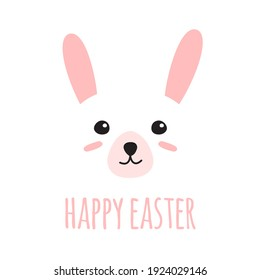 Vector hand drawn doodle flat bunny rabbit face and happy Easter lettering isolated on white background