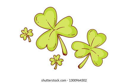 Vector hand drawn doodle illustration of St. Patrick's Day theme shamrock. Colored illustration on white background. Can be used for banners, posters, menus, leaflets and ads.
