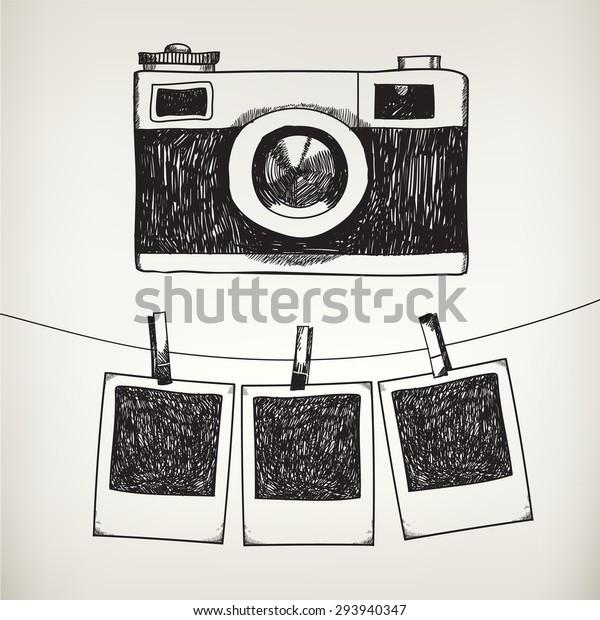Vektor handgezeichnete doodle Illustration von Retro-Fotorahmen und Kamera. Fotos in einem Fotostudio speichern.