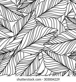 Vector hand drawn doodle leaves seamless pattern. Abstract autumn black and white background. Nature organic line illustration.