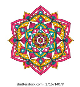 Vector hand drawn doodle mandala. Ethnic mandala with colorful ornament. Isolated on white background. Bright colors: pink, yellow, green.