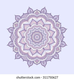 Vector hand drawn doodle mandala. Ethnic mandala with colorful ornament. Isolated.  Light yellow, pink, blue, and white colors.