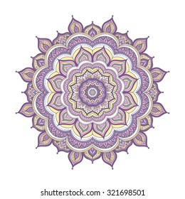 Vector hand drawn doodle mandala. Ethnic mandala with colorful ornament. Isolated. Yellow,  pink, violet and white colors.