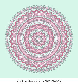 Vector hand drawn doodle mandala. Ethnic mandala with colorful ornament. Isolated. Pink, white, red and green colors. Light pastel colors.