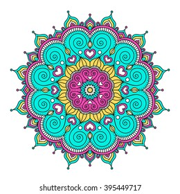 Vector hand drawn doodle mandala with hearts. Ethnic mandala with colorful ornament. Isolated. Pink, white, yellow, green colors.