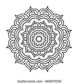 Vector hand drawn doodle mandala. Ethnic mandala with ornament. Isolated. Black and white colors. Coloring page for adult and children.