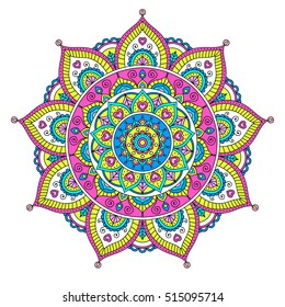 Vector hand drawn doodle mandala with hearts. Ethnic mandala with colorful ornament. Isolated. Tribal ornament. Bright colors mandala.